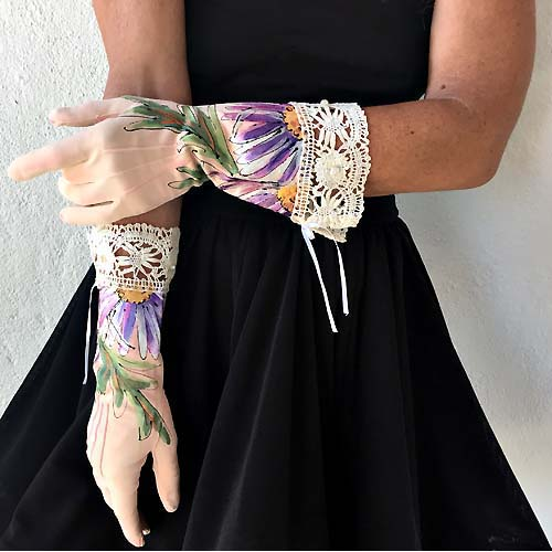 vintage ladies day gloves pink daisies lace pearls-the remix vintage fashion