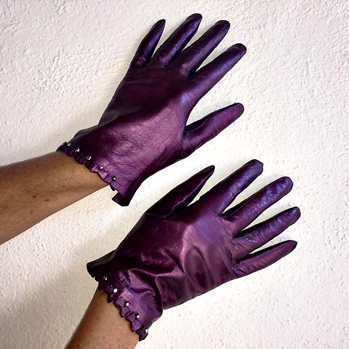 vintage ladies leather gloves claret-the remix vintage fashion