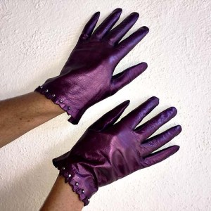 vintage ladies leather gloves claret-the remix vintage fashion