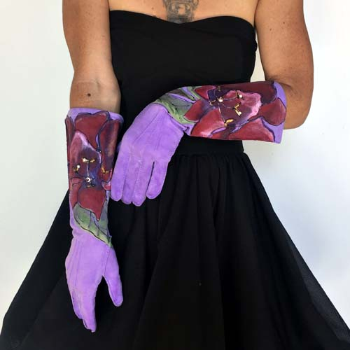 elbow gloves day gloves purple revamp-the remix vintage fashion