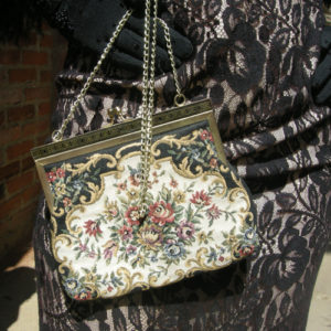 tapestry purse art deco gold enamel clasp-the remix vintage fashion