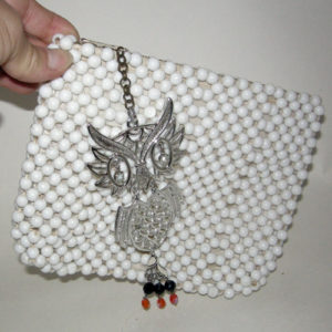 beaded purse owl pendant groovy upcycle design-the remix vintage fashion