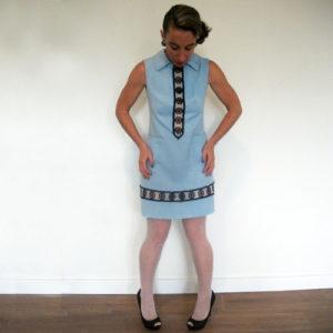 60s a line mini dress blue daisy trim-the remix vintage fashion