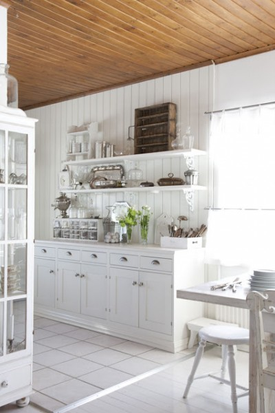Remodelaholic  White Country Kitchen Remodel With Marble
