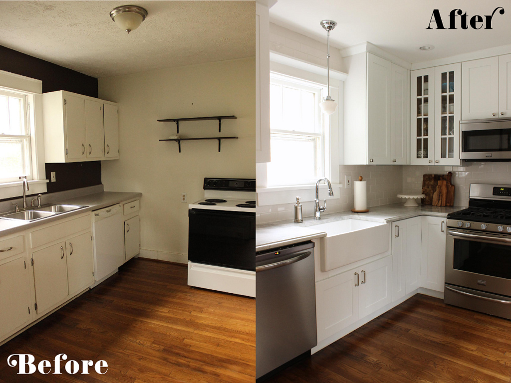 Small White Kitchen Makeover With Built-In Fridge