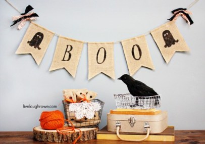 Ghostly Halloween Burlap Banner with livelaughrowe.com