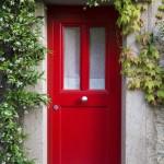 Red Entrance Door with jasmine flowers