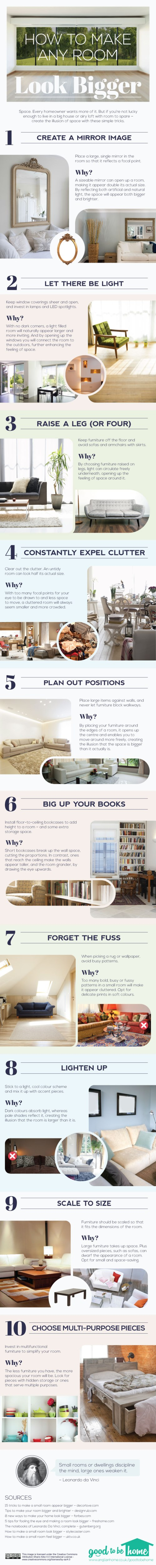 Sometimes it is the small things that make a huge impact. Learn how to make a room look bigger with all these great tips. How to make a Room Look Bigger via tipsaholic.com #home #decor #interiordesign