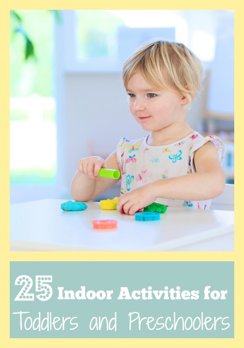 Too cold to play outside? Here are 25 indoor activities for toddlers and preschoolers that are fun and don't require a lot of time or materials! 25 Indoor Activities for Toddlers and Preschoolers via @tipsaholic #preschool #activities #toddlers #kids #indoor