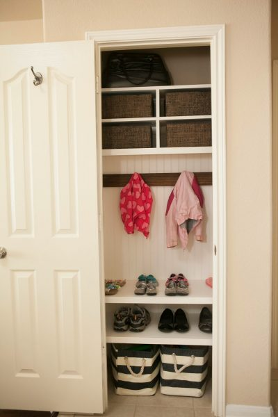 Is your coat closet small and cluttered? Turn your messy coat closet into an organized space with the help of these 11 coat closet ideas! 11 Ways to Upgrade Your Coat Closet via @tipsaholic #coatcloset #organize #closet #closets #diy