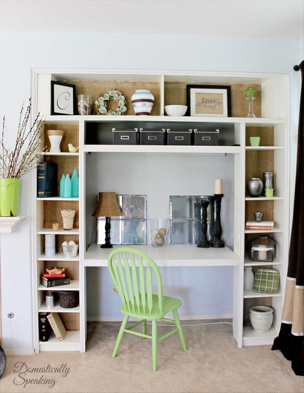 Remodelaholic  Ikea Bookcase To Builtin Desk Nook Hack