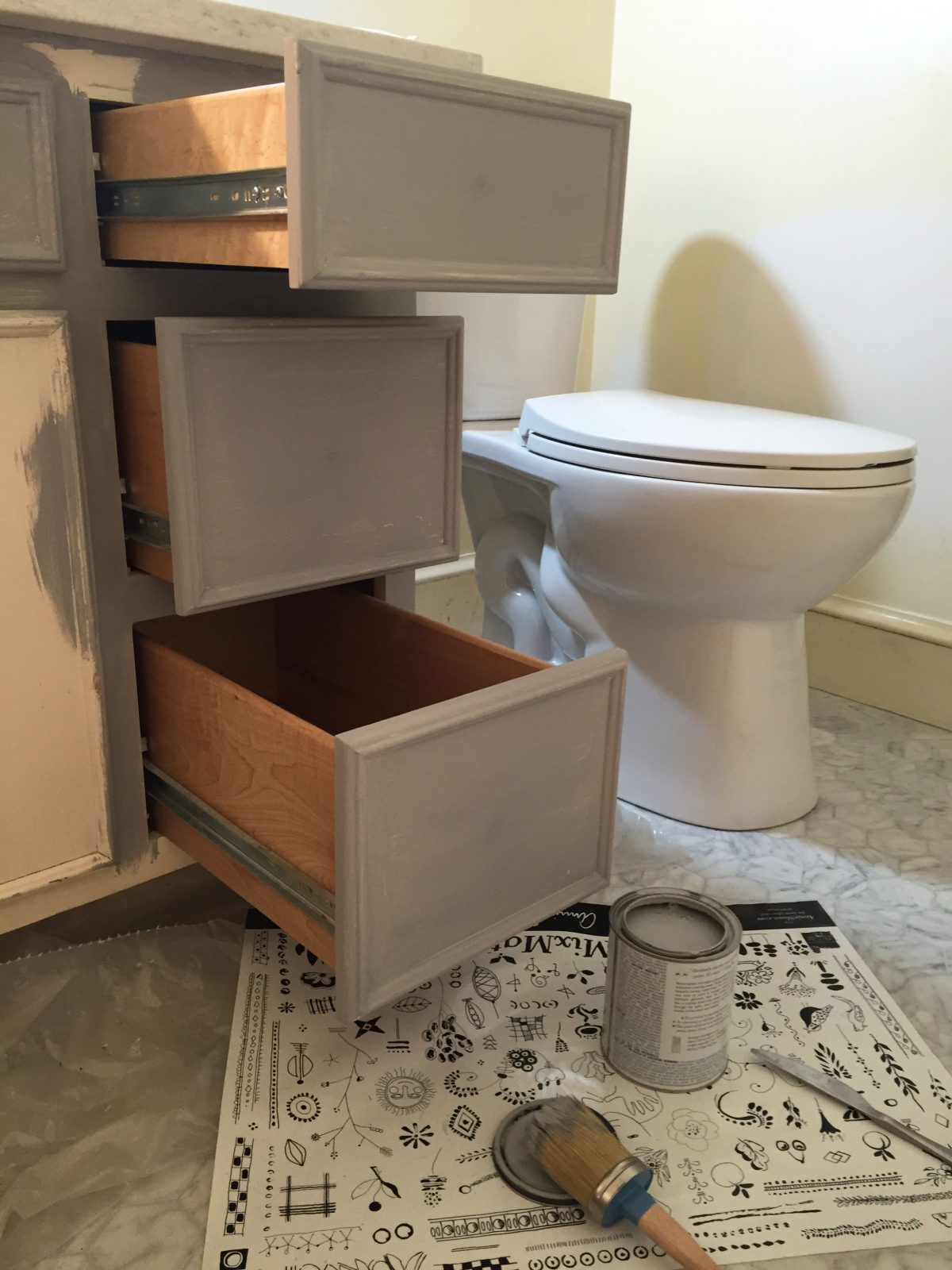 Painted Bathroom Vanity Remodelaholic Chalk Paint Bathroom Vanity Makeover