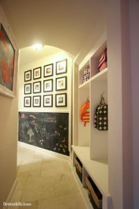 "Our ""Mud Hall"" DIY Project with cubbies, magnetic chalkboard wall, & more"