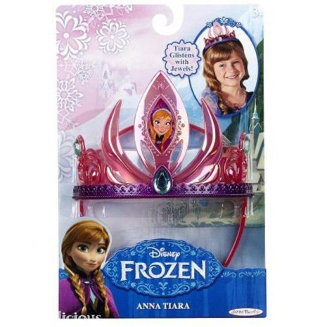 The plastic pink and purple Anna tiara is gorgeous, although again it is plastic so it is not as durable.  Your princess may prefer this pink version, especially if you purchase the budget shoes above.  This tiara is currently $8.99 on Amazon.com.