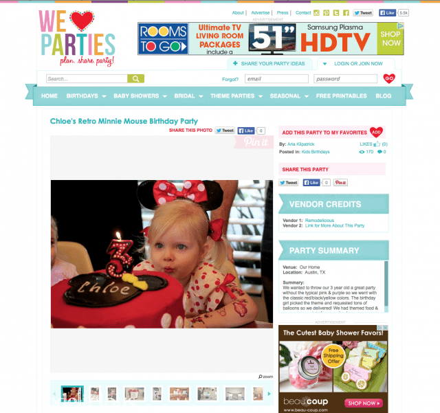 Chloe's Retro Minnie Mouse Birthday Party @ We Heart Parties