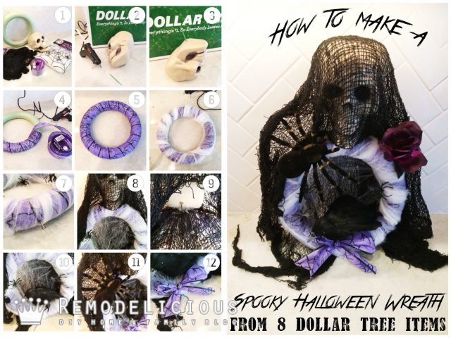 How to make a ghoulishly spooky Halloween wreath with Dollar Tree dollar store items | Remodelicious