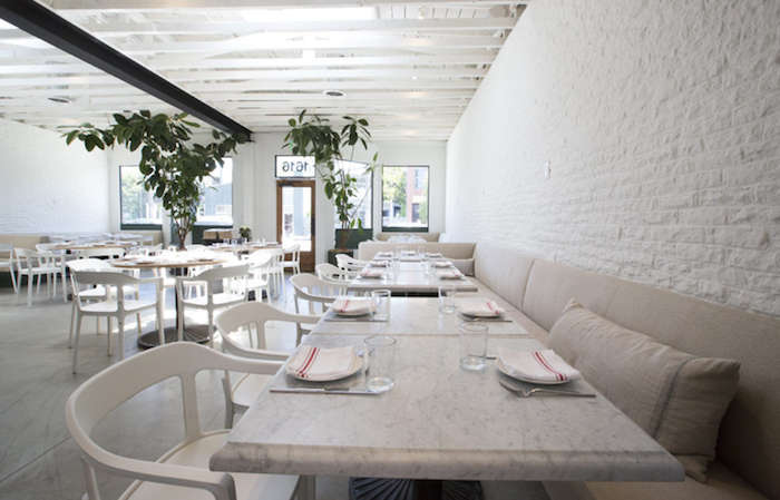 Modern Gray Bathroom Salt Air: A Whitewashed Restaurant In Venice Beach