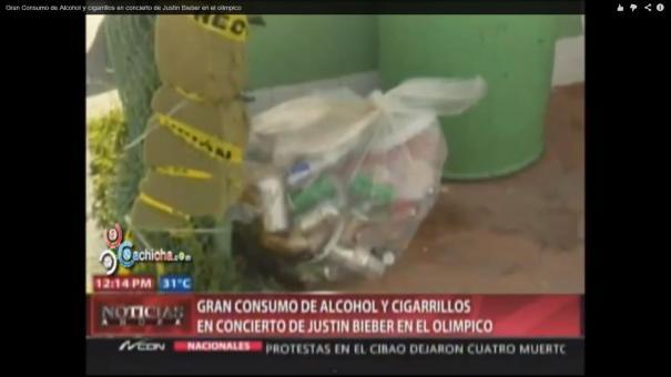 """romo """"Pila"""" de alcohol y cigarrillos en concierto de Bieber en RD [Video]"""