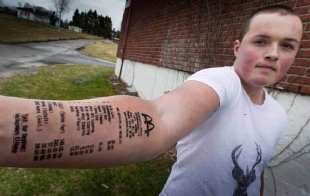 Lørenskog: Stian tatoerte McDonaldskvittering på armen.