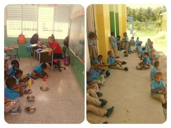 escuela FOTO – Carajitos comiendo en el suelo de escuela dominicana