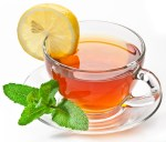 Cup tea with mint.
