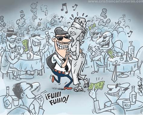 caricatura Caricatura  La justicia en una discoteca