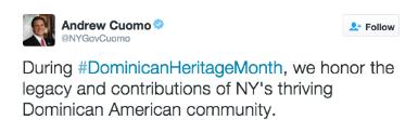 cu Gobernador de NY felicita comunidad dominicana