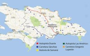 Las autopistas uno, dos y tres componen los principales corredores de República Dominicana