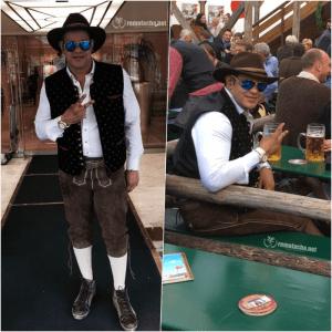 Sammy Sosa con traje del Oktoberfest bajando frias en Alemania