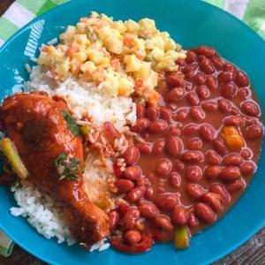 comida Comida de las 12: Arroz, habichuelas, carne y ensalada