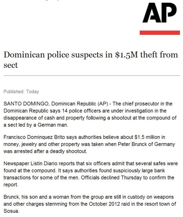 ap Associated Press: Policías dominicanos sospechosos de robo 60 millones