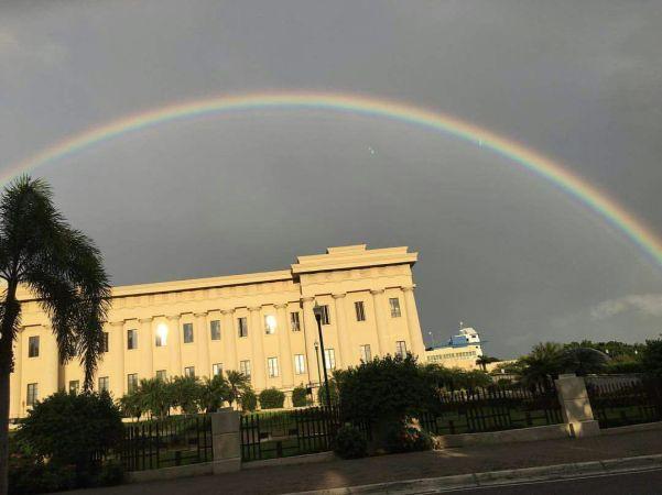 Fotos del arcoíris visto ayer en Santo Domingo