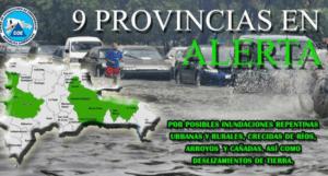 COE 300x161 COE: Nueve provincias en alerta verde