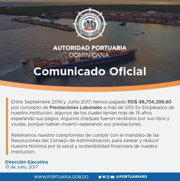 comunicado Aclaración: Comunicado de Autoridad Portuaria