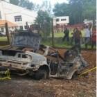 Un carro achicharrado en autopista duarte, se desconoce víctima