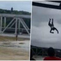 """""""Laigate, laigate!"""": Se jondean de puente en crecida de río (Video)"""