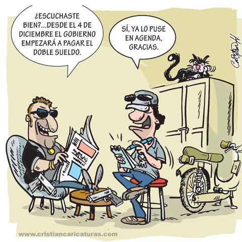 Atracadores leyendo la prensa Caricatura: Atracadores leyendo la prensa
