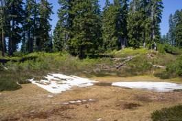 山上仅存的一些雪还在融化