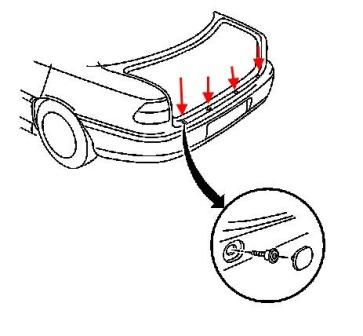 Как снять передний и задний бампер Chevrolet Cavalier