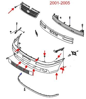 Как снять передний и задний бампер Hyundai Matrix