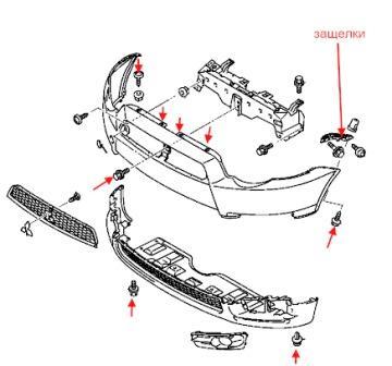 Как снять передний и задний бампер Mitsubishi Colt (2004-2012)