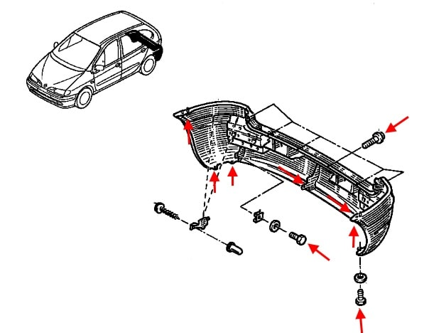 How to remove front and rear bumper Renault Scenic 1 (1996