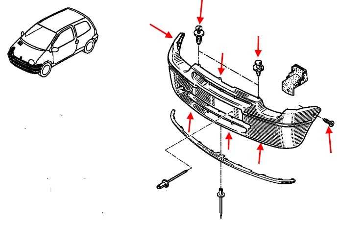 How to remove front and rear bumper Renault Twingo 1 (1992