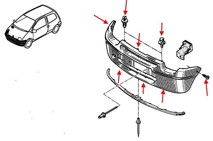 Как снять передний и задний бампер Renault Twingo 1 (1992
