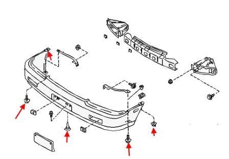 Как снять передний и задний бампер Nissan PRAIRIE