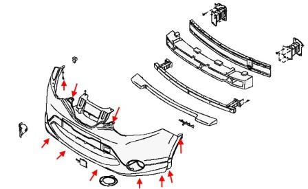 How to remove front and rear bumper Nissan Qashqai (Rogue