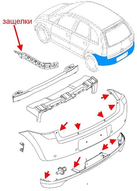 How to remove front and rear bumper Opel MERIVA A (2003-2010)