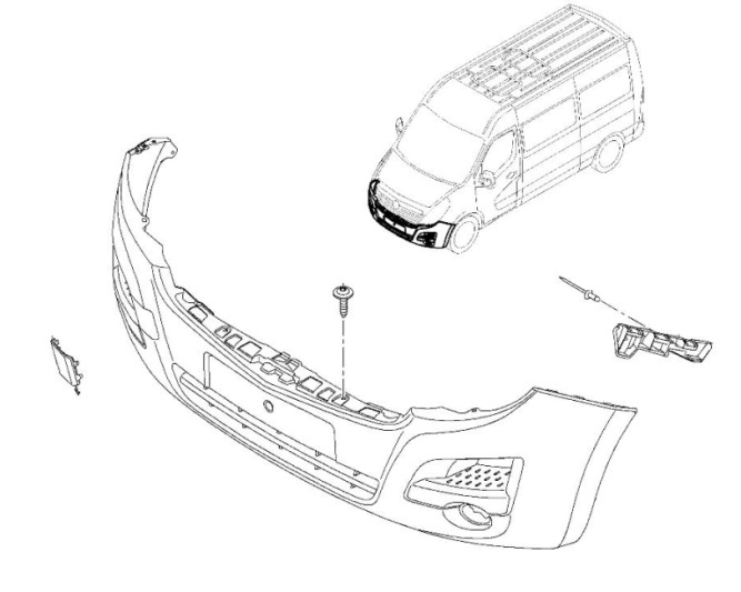Remove the front and rear bumper Opel Movano B (2010+)