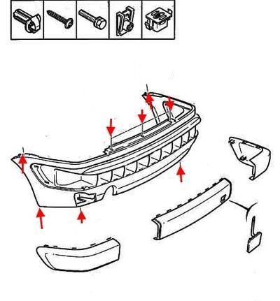 Как снять передний и задний бампер Citroen Xsara 1 (1997-2000)