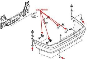 Как снять передний и задний бампер Nissan Primera P11